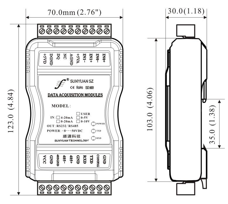SY AD 02A/04A-RS232/485系列多路数据采集器产品特点  低成本、小体积模块化设计方便桌面或导轨安装使用  数据采集隔离转换成RS485/232支持Modbus RTU通讯协议  测量精度优于0.05%,可以程控校准模块精度  信号输入 / 输出之间隔离耐压3000VDC  宽电源供电范围:8 — 50VDC  可靠性高,编程方便,易于安装和布线  用户可编程设置目标模块地址、波特率等  可直接根据现场数据采集显示结果进行监控 SY AD 02A/04A-RS2