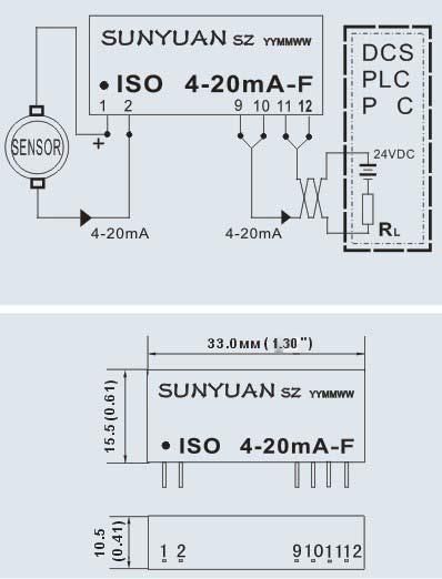 两线制4-20ma信号隔离配电器器应用及尺寸