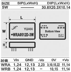 dc-dc电源模块:wra/wrb系列. 2:1 宽电压输入隔离稳压输出模块电源.