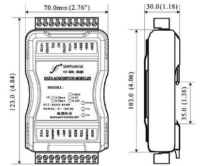 多量程高精度热电偶信号采集模块尺寸图