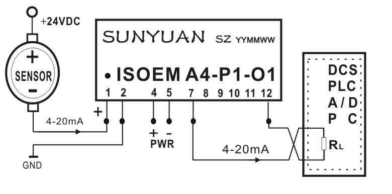 无源信号|无源信号匹配|PLC无源信号|DCS无源信号|4-20mA无源信号.ISO 4-20mA-E输出是针对24VDC和取样电阻(二线制仪表)相串联的二线制供电回路来设计的,同当前工业现场常用的模拟量输入接口板(上位机)、PLC、DCS或其他仪表含有有源负载的模拟量输入端口相匹配,产品使用中只需外接一个10K的多圈电位器进行ADJ校正,即可实现两线制4-20mA信号的隔离、传输和采集控制.
