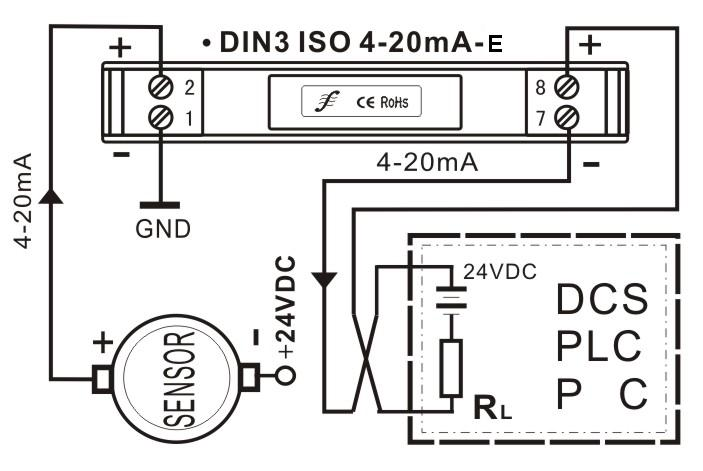 两线制4-20mA模拟量隔离放大器产品描述 SunYuan超小体积、低成本、高精度标准DIN35导轨安装两线制4-20mA模拟量隔离控制器,可将输入有源4-20mA电流信号转换成隔离的无源控制信号输出,控制二线制供电(防爆方式)4-20mA电流环路。实现传感器信号采集与模拟量输入接口有源负载的匹配,有效解决了采集有源4-20mA电流信号与二线制电流环供电回路接收口电源冲突问题。 DIN3 ISO 4-20mA-E采用高效能的回路窃电技术,使产品无需独立电源供电。而采用两线制回路供电输出方式可省掉两根电源线