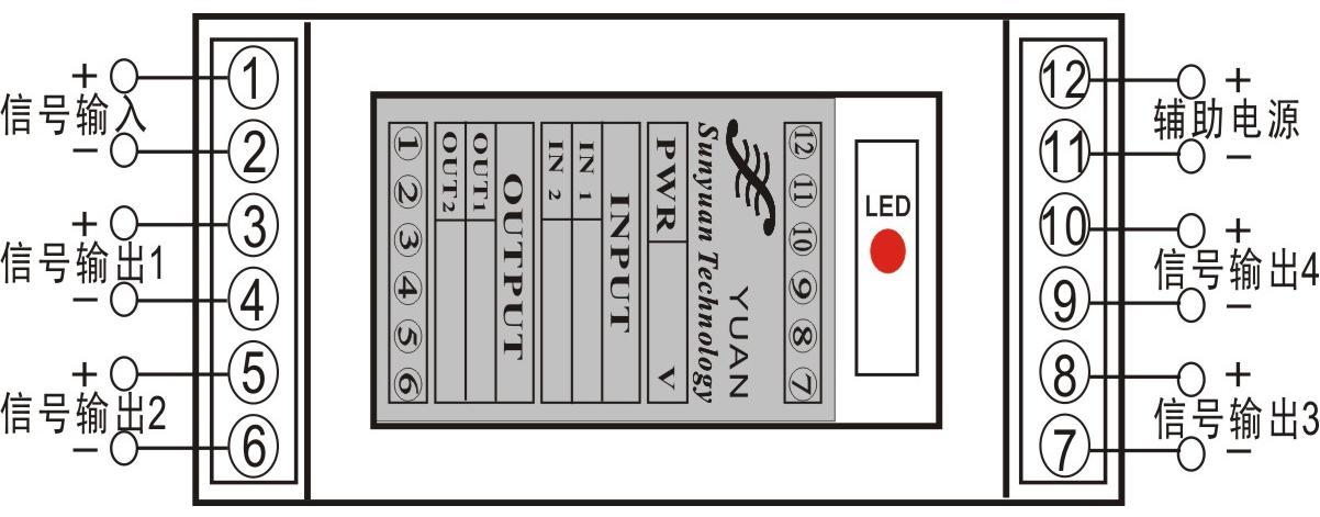 din1x4 isoem u1-p2-o din 1x4系列 一进四出隔离变送器隔离放大器
