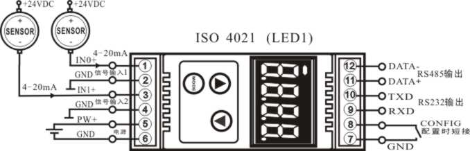产品说明: Sunyuan ISO 4021系列智能化数据采集显示控制模块,可实现传感器和主机之间的信号安全隔离和高精度数据采集、隔离显示与监控。该产品集隔离、显示、报警控制、变送于一体,常应用于RS-232/485总线工业自动化控制系统,4-20mA / 0-10V信号测量、监视和智能化控制,小信号的测量以及工业现场信号隔离及长线传输等远程监控场合。通过软件的配置,可接入多种传感器类型,包括电流输出型、电压输出型等。 ISO 4021系列智能化数据采集显示控制产品内部包括电源隔离,信号隔离、线性化,A/